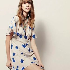 Free People Cream Dress Blue Flowers